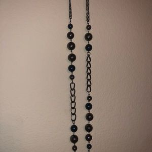 Paparazzi necklace and earrings- darkblue/gunmetal